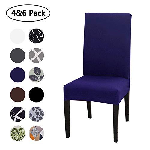 Fumei coprisedia con schienale, universale protettivo elastico, lavabile estraibile, facile da pulire e resistente, copertura delle sedia adatta per casa, hotel, festa (blu, 4 pezzi)