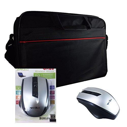 2in1 Starter Set Laptoptasche + mobile Maus für HKC NT14W-DE | Notebooktasche | Businesstasche - 2in1 LB Schwarz 4 + X16 DE