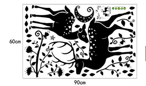 ZBYLL Wall Sticker Mond schwarz Wind hohe Rotwild Silhouette Moderne Home Terrasse Badezimmer Dekoration