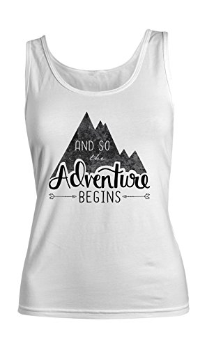 And So The Adventure Begins Mountains Hiking Holiday Traveling Damen Tank Top Ärmellos Muskelshirt Weiß Small (Top Tank Mountain-girl)