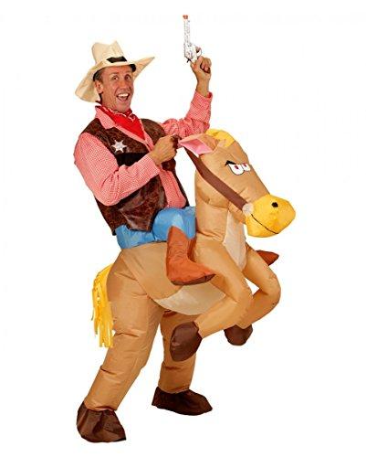 Horror-Shop Aufblasbares Cowboy auf Pferd Kostüm für die Wild West Mottoparty