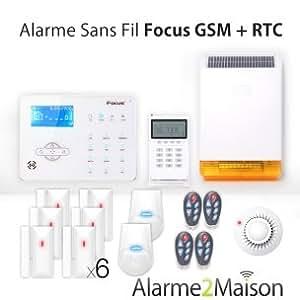 Focus - Alarme Maison sans fil Focus GSM + RTC 5 - 6 Pièces - Incendie