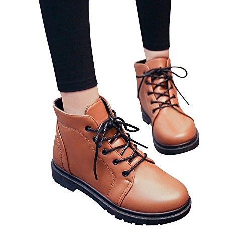 Femmes Chaussures,Sonnena Bottes Femme Automne Hiver/Homme Bottes Cuir/Bottines Plates Fourrées/Boots Chaussures Lacets/Classiques Chaudes Impermeables Mode Casual Shoes
