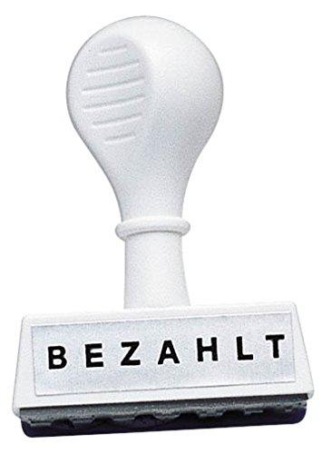 WEDO 1939 Lagertext Stempel BEZAHLT, Kunststoff, Abdruckbreite ca. 45 mm, Schrifthöhe 5,5 mm, ergonomischer Griff, weiß