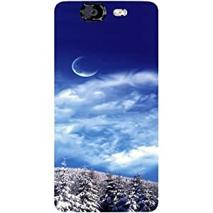 Casotec Snow Moon Clouds Design Hard Back Case Cover for Micromax Canvas Knight A350