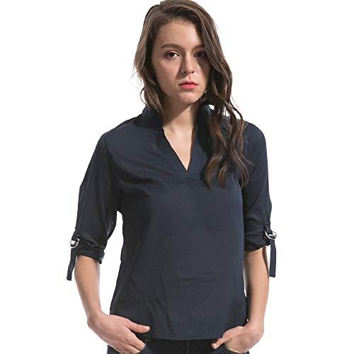 PinkLu Shirt Langarm Damen Elegant,Chiffon Freizeithemd Mit V-Ausschnitt Konventionelle HüLse T-Shirt Schwarz/Blau/Marine(S-6XL) -
