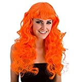 Ladies Bright Coloured Foxy Wig Curly Long with Fringe (Neon Orange)