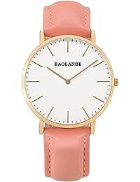 Alienwork Classic St.Mawes Reloj cuarzo elegante cuarzo moda diseño atemporal clásico Piel de vaca oro rosa pink U04815L-04