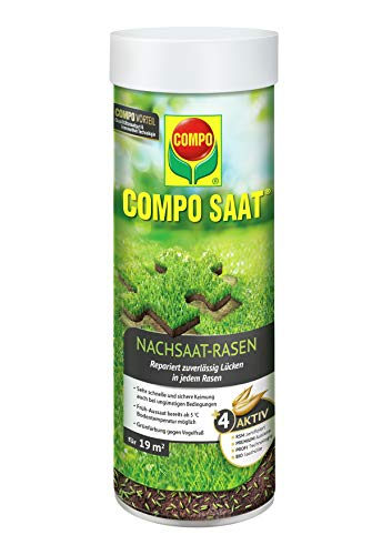 COMPO SAAT Nachsaat-Rasen, Spezielle Nachsaat-Mischung  mit wirkaktivem Keimbeschleuniger, 380 g, 19 m²