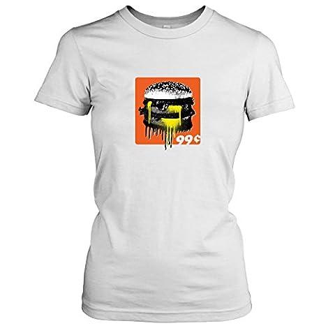 Krysom - 99c Burger - Damen T-Shirt, Größe XL, weiß (Künstler Kostüm-ideen)