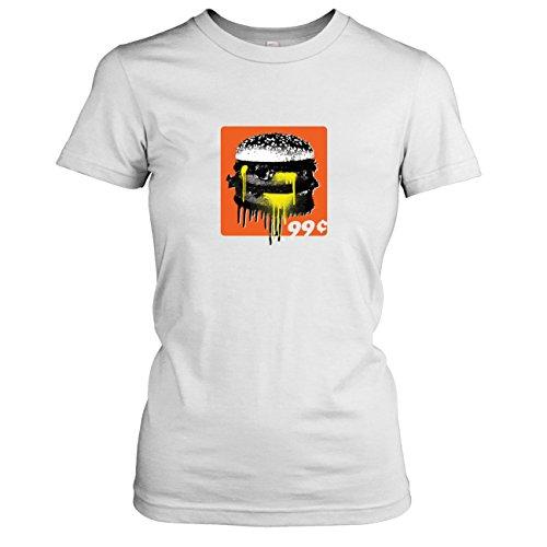 Krysom - 99c Burger - Damen T-Shirt, Größe XL, weiß