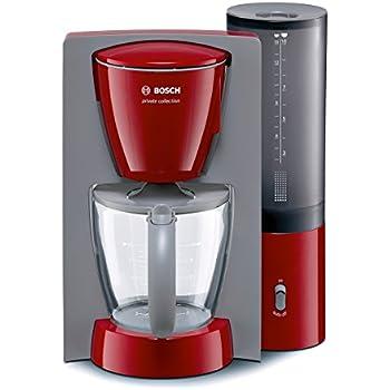 Bosch TKA6034 Kaffeemaschine private collection (1100 W maximal, Aromakreisel, auto-off-Schalter, abnehmbarer Wassertank), rot/hellgrau
