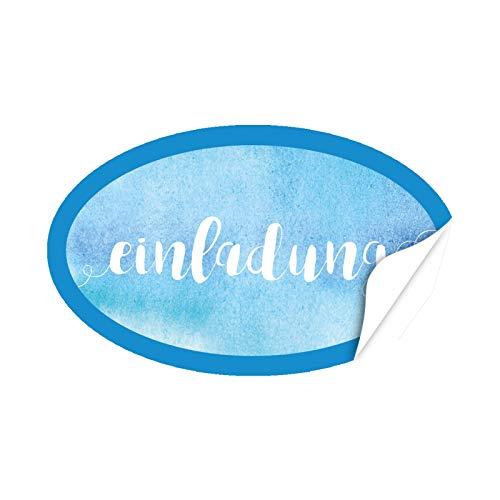 20 x ovale Design Aufkleber Einladung Aquarell Look blau - Format ca. 8 x 5 cm - Edle Etiketten/Sticker mit Motiv modern im Set