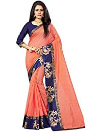 Rajeshwar Fashion Women's Peach Colour Chanderi Cotton Saree With Unstitched Blouse Piece