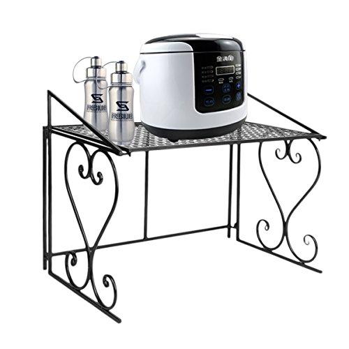 Dazone Metall Mikrowelle Regal Küchenregal Mikrowellenhalter (Schwarz)