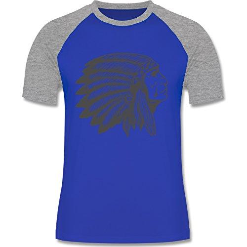 Shirtracer Boheme Look - Indianer Häuptling Handzeichnung - Herren Baseball Shirt Royalblau/Grau meliert