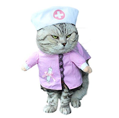 DELEY Haustier Hund Katze Halloween Weihnachten Cosplay Party Fancy Kleid Kostüm Uniform Kleidung Krankenschwester ()