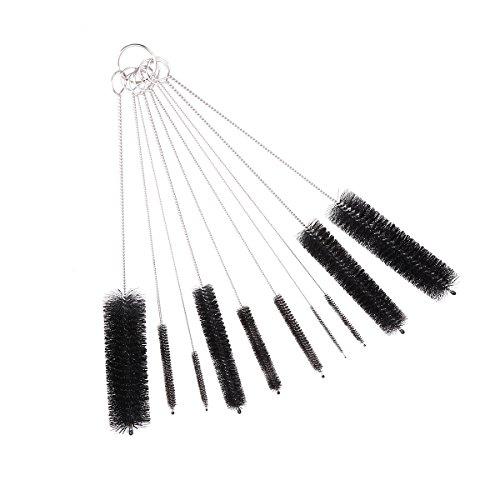 ounona Nylon Tube Bürsten 10Stück Flaschenbürste Reinigungsbürste für Flasche aus Glas Baby Fläschchen Wasserkocher Tastatur (schwarz)