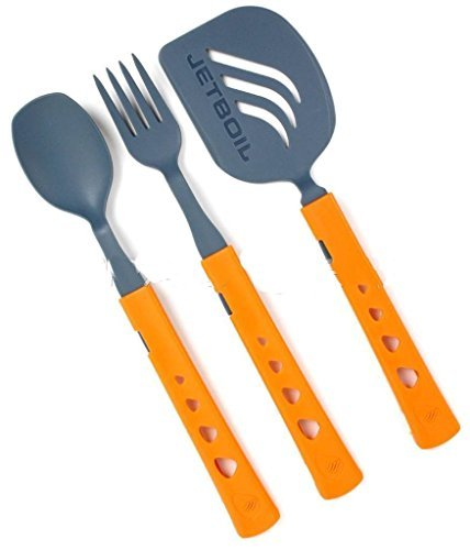 Jetboil Jetset 3-Piece Camping Utensil Set/Kit Spoon Fork Spatula Ultralight by Camping Cookware