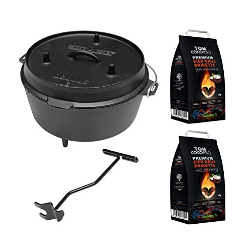 camp chef KS0861 Camp Chef Deluxe Dutch Oven DO-12 + TOM COCO Grill-Kokoskohlebriketts 2er-Pack