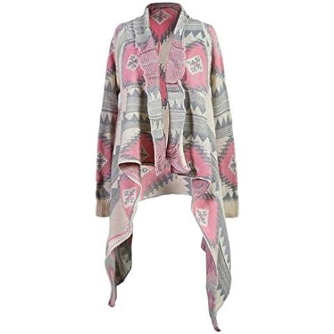 Manera irregular en color que empareja sweater Cardigan manga larga mujer . pink . m