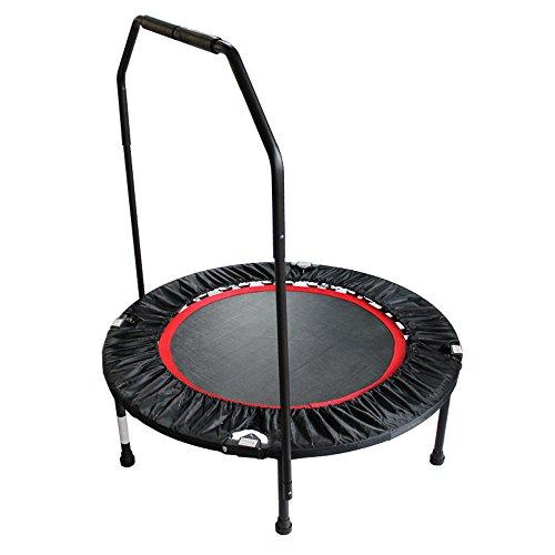 Topqsc fitness trampolino, 100-150kg mini fitness protrampolino pieghevole quarto muto salto letto rimbalzando lettino bouncer trampolino stabile con barra di sostegno per il fitness ideale per uomo e donna