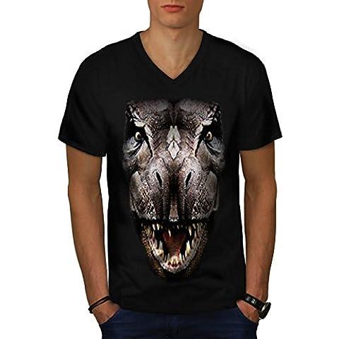 T-Rex Dinosaure jurassique Histoire Homme S T-shirt à col en V   Wellcoda
