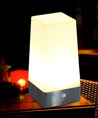 Aappy Retro Small Night Licht europäischer Stil drahtlos PIR Bewegungsmelder LED-Lampe decrative-Lighting Lampen für Waschtisch-Bett, Schlafzimmer, Badezimmer, Flur 3 AAA (quadratisch silber)