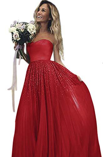 Dorliki Prickelnd A-Linie Schatz Paillettenbesetzt Tüll Lange Kleid der Brautjungfer Ballkleid Rot 40