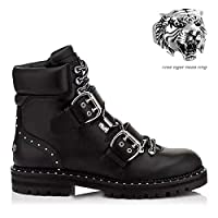 Jingya Men Martin Boots Genuine Leather Small size Waterproof High Army Boots Boots Gothic Skull Punk Motorcycle Steampunk Shoes Martin Western Boots