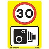 30mph & Speed Kamera Schilder [3x Pack]–A4Vinyl Aufkleber, gelb Hintergrund ideal für Mülltonnen