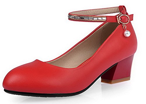 AgooLar Femme Stylet Couleur Unie Tire Rond Matière Mélangee Chaussures Légeres Rouge