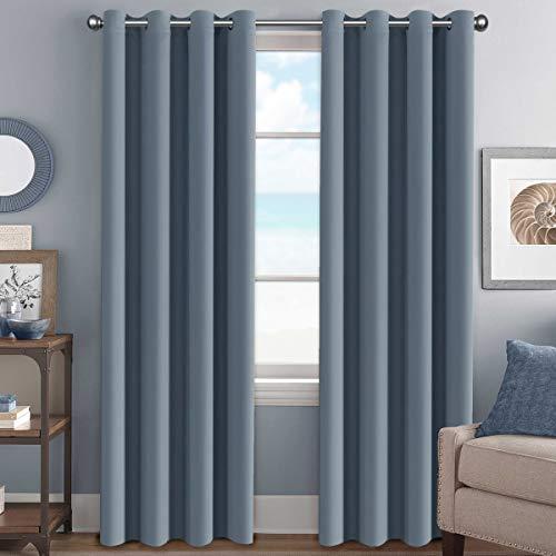 BellaHills Vorhang Blickdicht Schlaufen Verdunkelungsgardinen Gardinen Schlafzimmer Stein Blau 2 Stück Vorhänge, Energiespar & Wärmeisolierend 245CM x 140CM (H x B)
