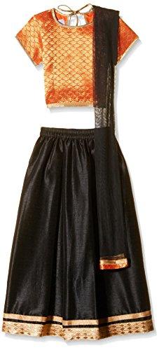 Atayant Girl Lehenga Choli (ATAYK_030_5:6YR_Orange and Black_XL)