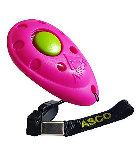 ASCO Premium Clicker für Clickertraining, Hunde Katzen Pferde Profi Clicker, Hundetraining Klicker pink AC08P