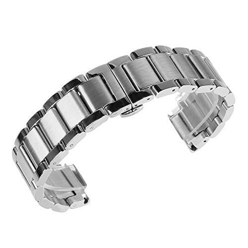 Poliert Matt (Beauty7-22mm Silber Edelstahl Uhrenarmband für Herren Mittel Matt beideseitig poliert Glänzend mit Faltschließe Metall Armband)