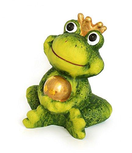 Dekofigur Gartenfigur Frosch Froschkönig grün mit Goldkugel aus Keramik Höhe 12 cm groß, witzige Figur als Garten Deko in Stein Optik