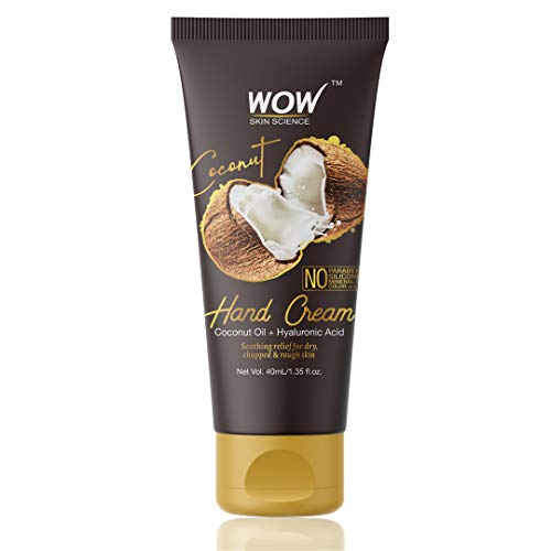 WOW Skin Science Coconut Gentle Hand Cream With Coconut Oil + Hyaluronic Acid - No Parabens, Silicones, Mineral Oil, Color & Pg, 40 ml