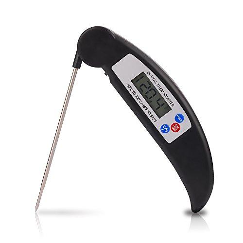 Ofen Bildschirm (Küchenthermometer zum Kochen Tragbar Barbecue Haushaltsthermometer, Digital LCD Bildschirm 180 Grad Faltbare Kochthermometer für Lebensmittel/Kochen/Fleisch/Grillen/ Braten/Grillen)