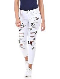 La Modeuse - Jeans coupe slim effet destroy avec écussons