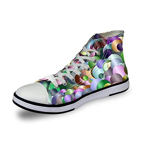 Ladies Hi Tops Canvas Shoes Walking Trainers Breath Flat Sneakers Women Pumps Circle UK 7 (Dillards Schuhe Für Frauen)