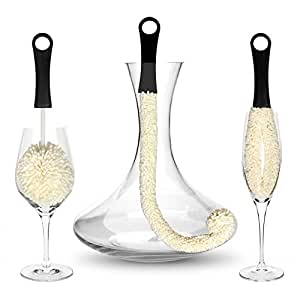 Bar Amigos™ Set of 3 - Decanter & Glassware Cleaning Brushes Glass Cleaning Brush For Cleaning Hard To Reach Areas Items Such as Wine Champagne Glasses Babies Bottles, Beer Steins, Neck Goblets, Reusable Water Sports Bottles, Stainless Steel Bottles and more
