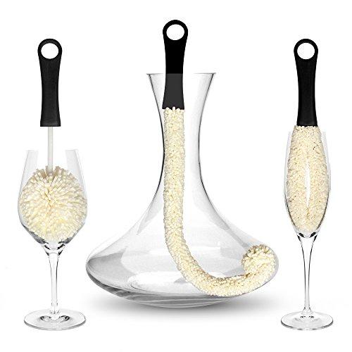 Bar Amigos Set of 3 - Dekanter Karaffe & Gläser Glasreinigungsbürste Biegsam Weinglas...