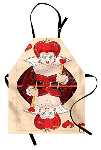 Alice im Wunderland Schürze, Königin Karten spielen Alice Charakter in fiktiven Märchen-Print, Unisex-Küche Latzschürze mit verstellbarem Hals für das Kochen Backen Gartenarbeit, rot braun ()