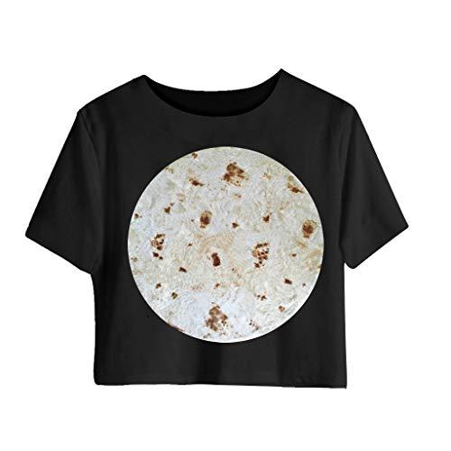 Lazzboy Mexikanisches T-Shirt mit Huhn-Aufdruck für Frauen Kurzärmeliges Hemd Top(Weiß,L) -