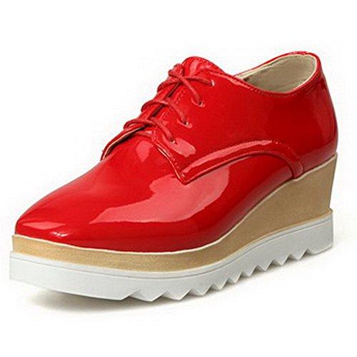 AllhqFashion Femme Verni Lacet Carré à Talon Correct Couleur Unie Chaussures Légeres Rouge