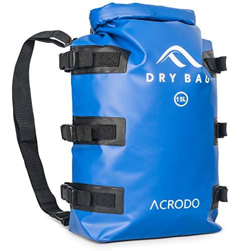 Acrodo Wasserdichter Rucksack & Dry Bag - 15 l Rucksack für Strand, Kajak, Schwimmen, Bootfahren, Camping, Reisen & Geschenke, Solid Dark Blue