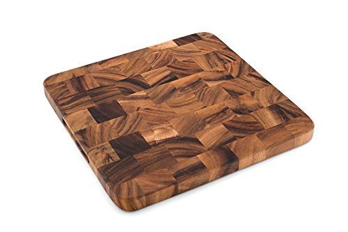 Ironwood 28736 Oslo End Grain Square Utility Board, One Size, Acacia Wood Square End Grain Cutting Board