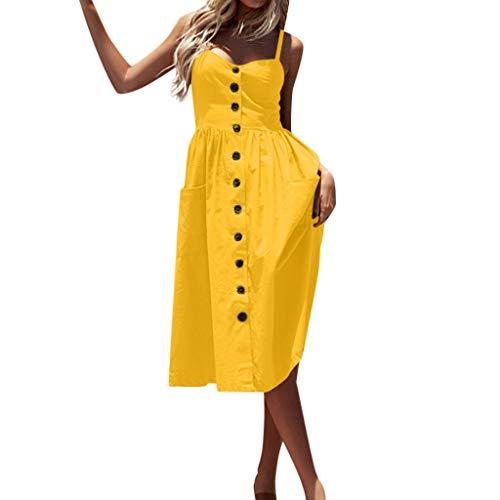 Fresofy Maxikleid Damen Sommer Strandkleid Lange V-Ausschnitt Ärmellose Kleider Oversize Lange Freizeitkleid -