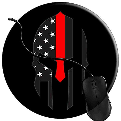 Gaming Mauspad Runde Rote Linie Feuerwehrmann amerikanische Flagge spartanisch Oberfläche verbessert Geschwindigkeit und Präzision rutschfest Mouse Pad 2T2473